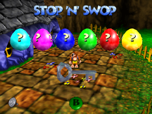 Banjo-Kazooie (series) - Stop 'N' Swop menu with the six coloured eggs and the ice key