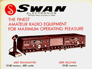 Swan Electronics - Magazine ad circa 1970s featuring Swan 600T/600R