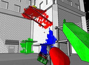 Tag: The Power of Paint - In Tag, the player uses a paint gun to spray surfaces with three types of paint so that they can then arrive at difficult-to-reach locations.
