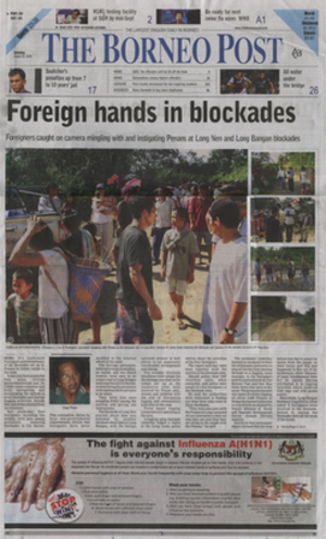 The Borneo Post - Front page on 22 August 2009