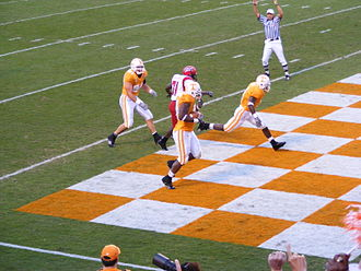 Tennessee Volunteers football - Orange and white checkerboard end zones are unique to Neyland Stadium.