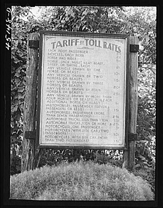 Toll bridge - Toll rates at Connecticut River Bridge between New Hampshire and Vermont  U.S. Library of Congress