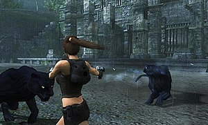 Tomb Raider: Underworld - Lara Croft using the dual-target feature.