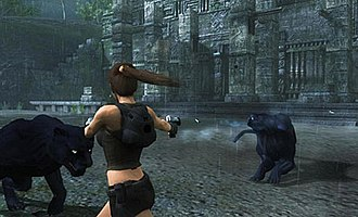 Lara Croft using the dual-target feature. Tomb Raider Underworld Dual Target System.jpg