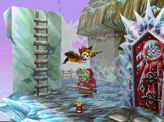 Tomba! 2: The Evil Swine Return - Tomba using the Flying Squirrel Suit in the cursed Kujara Ranch