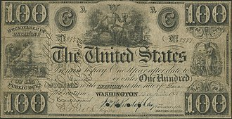 Treasury Note (19th century) - An issued, but cancelled, $100 Treasury Note from 1838, issued under the Act of October 12, 1837