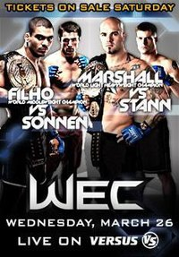 A poster or logo for WEC 33: Marshall vs. Stann.