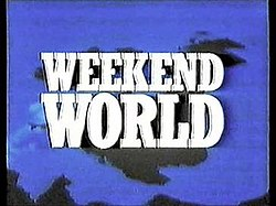 A sillouhette of the British Isles on a blue background, overlaid with 'Weekend World' written in large white capitals