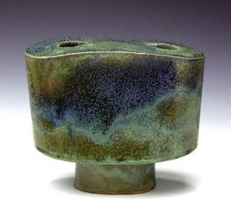 Otto Natzler - 'Footed Vase', glazed ceramic by Otto Natzler, 1981, Smithsonian American Art Museum