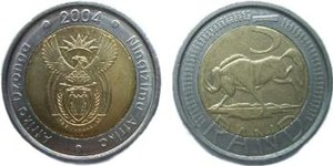 South African rand - A 5-rand bimetallic coin issued in 2004