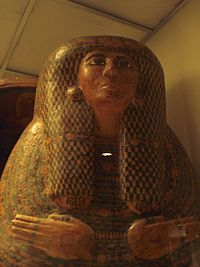 The sarcophagus of a priestess of Amon-Ra cerca 1000 B.C.E at the Smithsonian's National Museum of Natural History.