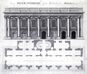 Christ Church Library - The front elevation and plan.