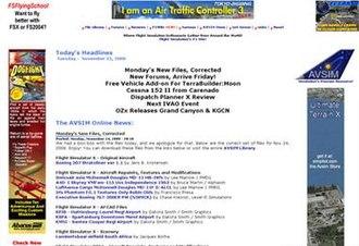 Avsim.com - Screenshot of Avsim.com homepage in November 2008.