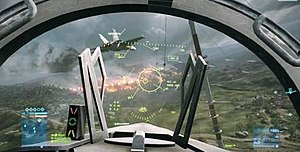 Battlefield 3 - Screenshot of the HUD as shown in the fighter jet in Multiplayer Mode.