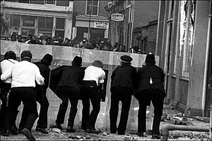 British Jamaican - A scene from the April 1981 Brixton riot which is one of the most violent and destructive riots in British history
