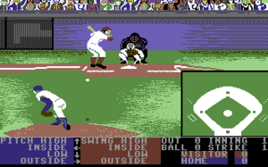 Accolade (company) - HardBall!, here seen on the Commodore 64, started a series that went on to become one of Accolade's most popular franchises.