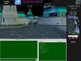 CyberTown - Screenshot of CyberTown's Plaza in a web browser