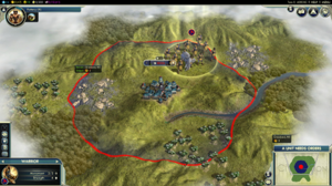 Civilization V - A player starting location with one city and one warrior unit showing.