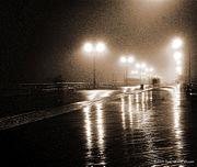 Coney Island Boardwalk on a foggy night