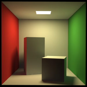 Computer graphics (computer science) - Indirect diffuse scattering simulated using path tracing and irradiance caching.