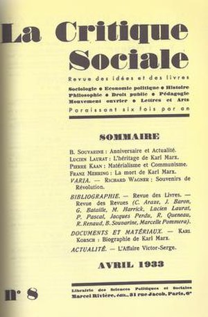 Pierre Kaan - Front cover of the Critique Sociale's 8th edition featuring articles by Pierre Kaan, George Bataille and Boris Souvarine.