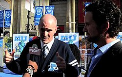 Writer Dan Gerson describes writing the film Monsters University at the premiere in 2013, with his writing partner Robert Baird on the right. Interview made by Mingle Media; the interviewer is Linda Antwi.