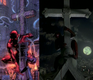 Daredevil (film) - A side-by-side view of the scene from the Guardian Devil graphic novel, and the film. Several scenes were taken shot-for-shot of comic books.