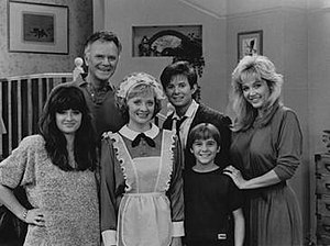 Down to Earth (U.S. TV series) - Season 3 main cast of Down to Earth  (l–r) Kyle Richards, Dick Sargent, Carol Mansell, David Kaufman, Randy Josselyn and Marla Jeanette Rubinoff.