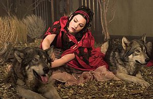 "Call Me When You're Sober - A scene from the ""Little Red Riding Hood""-inspired clip for the song, where Lee is shown among wolves"