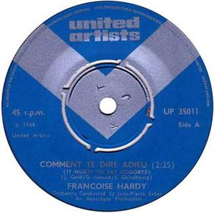 Comment te dire adieu (song) - Image: F. Hardy, SP Comment te dire adieu, United Artists 1969