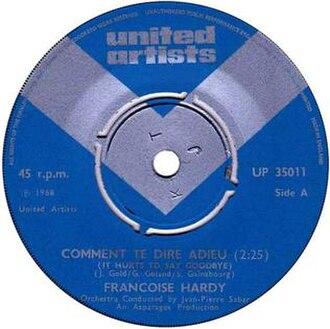 Comment te dire adieu (song) - Image: F. Hardy, SP Comment te dire adieu, United Artists 1969