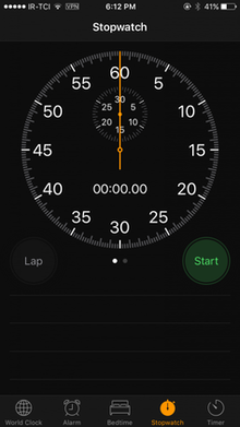 The analog stopwatch face