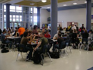 Independence High School's cafeteria during lunch.