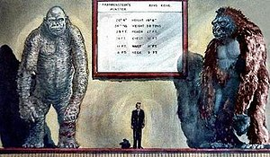 King Kong vs. Godzilla - A painting done by Willis O'Brien for the proposed King Kong meets Frankenstein. This project evolved into King Kong vs. Godzilla with Godzilla replacing the Frankenstein giant as King Kong's opponent