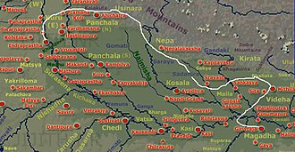 Kosala Kingdom - Route taken by Bhima, Arjuna and Krishna from Kuru Kingdom to Magadha Kingdom to meet Jarasandha as per Mahabharata