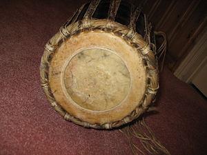 Maddale - Yakshagana Maddale left drum head (bass). Left side is slightly larger