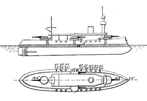 French ironclad Marceau - Line-drawing of Marceau in 1908