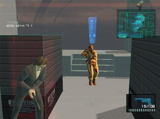 Metal Gear Solid 2: Sons of Liberty - A screenshot from one of the training missions in Substance. Snake is dressed in a tuxedo.