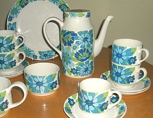 Midwinter Pottery - English Garden, transfer printed on the 'Fine' shape, late 1960s