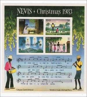 "Calypso Carol - ""Calypso Carol"" on a 1983 miniature sheet issued by Nevis"
