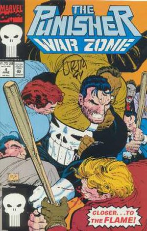 The Punisher War Zone (1992 series) - Cover by John Romita Jr. and Klaus R. Janson. Romita's signature can be seen beneath the logo.