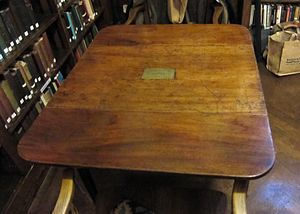 Richard Carlile - His favourite writing table in the library of the South Place Ethical Society.