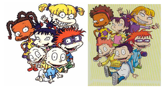 All Grown Up! - Comparison in design style between Rugrats (left) and All Grown Up! (right)
