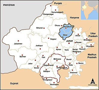 Shekhawati - Shekhawati region of Rajasthan (in blue)