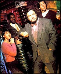 The original Sliders. From left to right: Wade Welles, Rembrandt Brown, Professor Arturo and Quinn Mallory