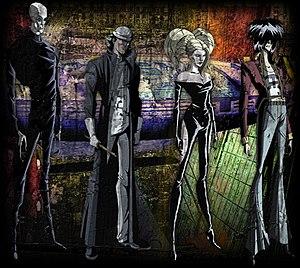 "Machina/The Machines of God - ""GATMOG"" characters bearing a resemblance to The Smashing Pumpkins' bandmembers"