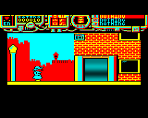 Spycat - Acorn Electron screenshot showing the opening screen in Blackhall (the game's version of Whitehall).