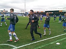 Stockport County Players warm up vs. Cambridge United.