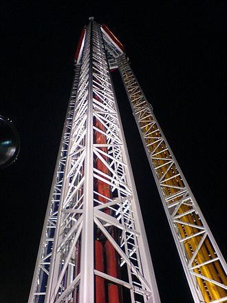 Superman: Tower of Power - Superman at Six Flags Over Texas illuminated at night