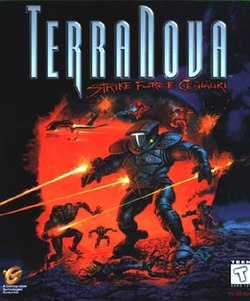 "A science fiction battlefield, covered in red haze. In the foreground, a soldier wearing a powered exoskeleton fires a laser beam at an unseen target. A gangly man in the distance fires a laser beam at the soldier in the foreground, which narrowly misses. Above, soldiers drop from an aircraft, and a stylized title reads, ""Terra Nova: Strike Force Centauri""."